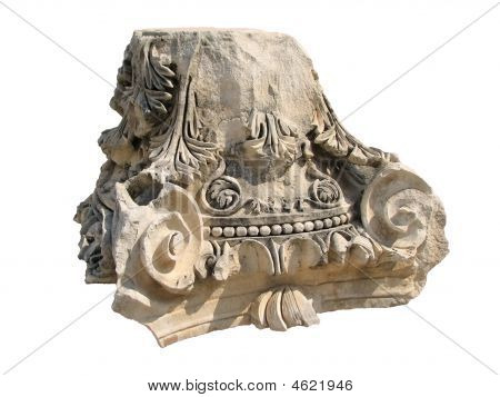 Capital Of The Roman Column Over White