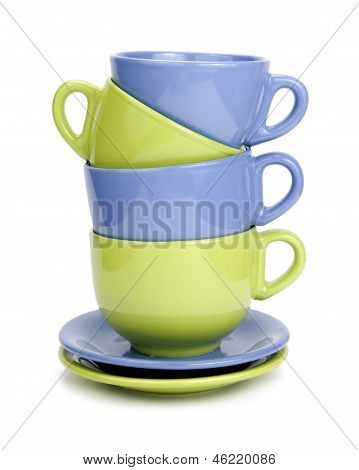 Blue and green breakfast dishware