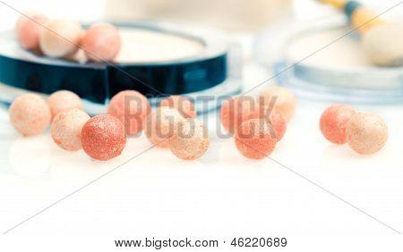 Macro Shot Of Face Powder Pearls (ball-powder), On White Background