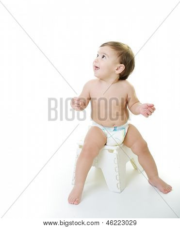 Baby kid with various funny poses isolated on white with copy space
