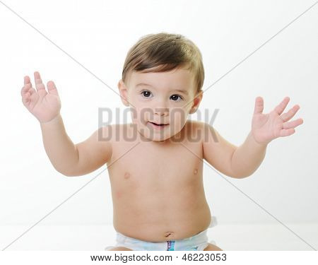 Baby child with various funny poses and hands gestures isolated on white with copy space