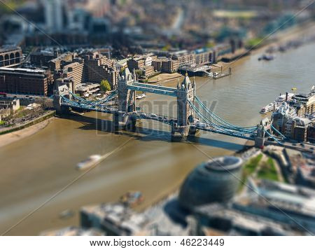 Tower Bridge and London City Hall aerial view, tilt-shift effect, England, UK