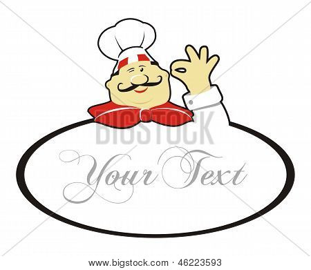 Happy Chef Doing Okay Gesture And Text