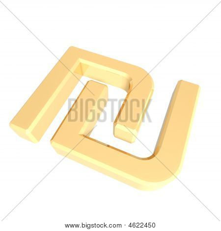 Gold Sheqel Sign Isolated On White.