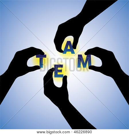 Concept Vector Graphic- People Hands Silhouette Arranging Team Word
