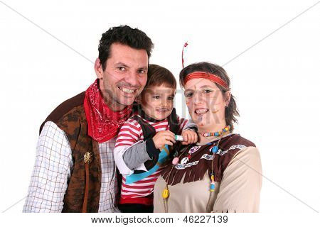 beautiful family, indian girl, pirata and cowboy