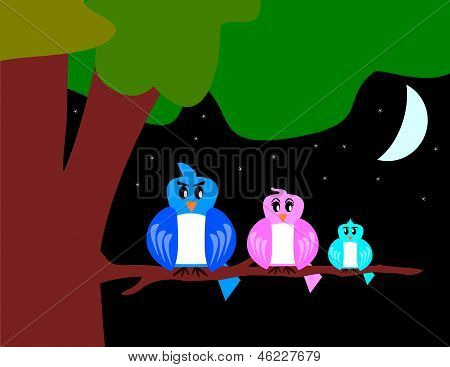 Bird Family With Tree And Moon