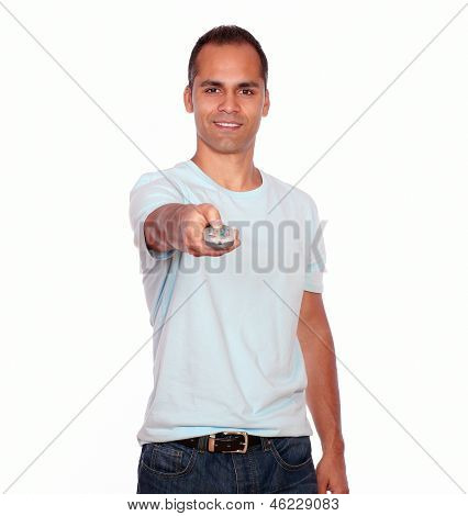 Latin Adult Man Pointing With Remote Control