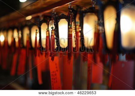 Interior lanterns of Man Mo Temple in Hong Kong, China.