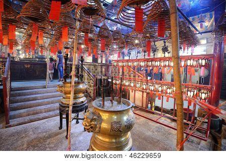 Interior of Man Mo Temple in Hong Kong, China.