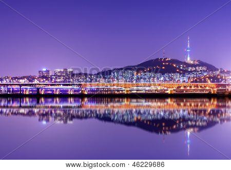 Namsan Mountain and Seoul Tower with reflections.