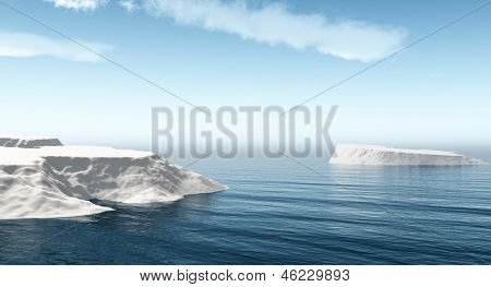 The big icebergs  on the open ocean