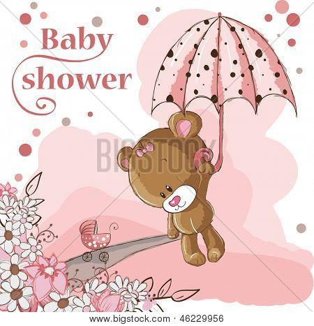 girl bear and umbrella