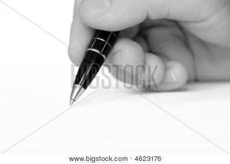 Man Hand Writing On White Paper