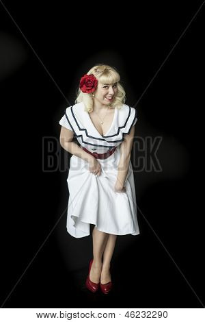 Beautiful Young Woman With Blond Hair In Sailor's Dress