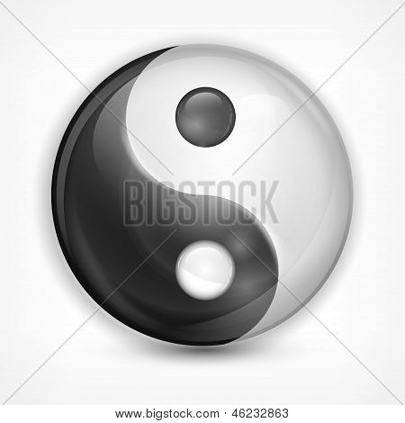 Yin Yang Symbol On White