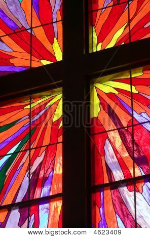 Cross In Stained Glass Window