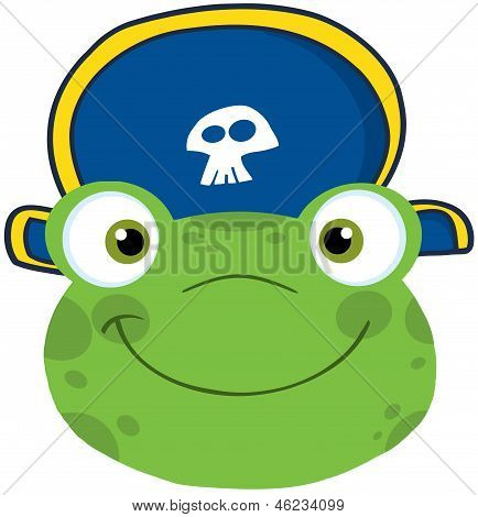 Frog Smiling Head With Pirate Hat