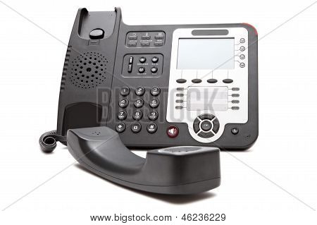 Black Ip Phone Close Up Isolated