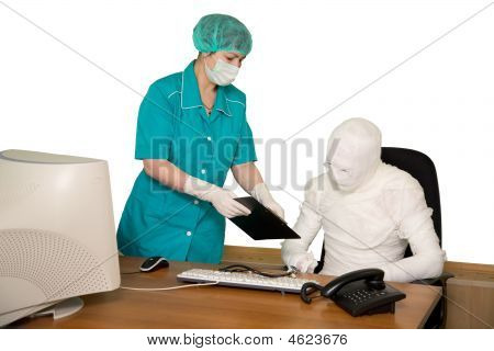 Bandaged Businessman And Nurse