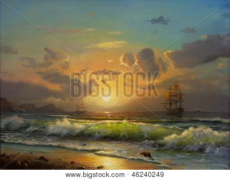sailboat against a background of sea sunset, Oil painting