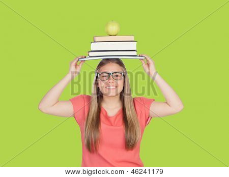 College student charged with books on green background