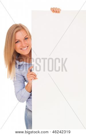 Young blond caucasian woman showing paper over white background