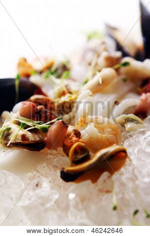 Fresh various seafood served on ice in restaurant