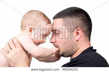 Young Father Playing With His Baby
