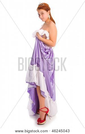 Young smiley woman in long lilac-coloured ball dress