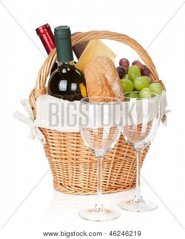 Picnic basket with bread, cheese, grape, wine bottles and two glasses. Isolated on white background
