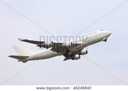 Big passenger airliner taking off