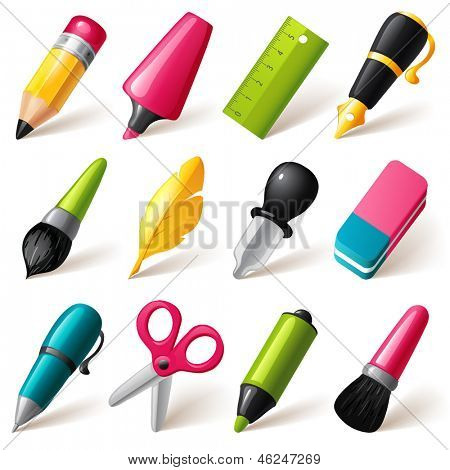 Drawing and Writing tools icon set