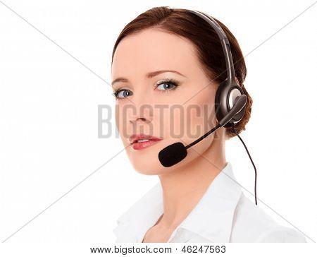 Support-Telefon-Betreiber im Headset, isolated on White, Exemplar