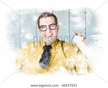 Discount Salesman Painting Retail Store Window