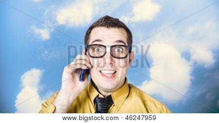 Businessman Talking The Talk. Cloud Background