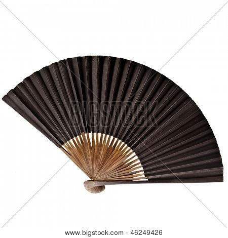One Old Vintage Japanese Folding Paper Fan isolated on white background