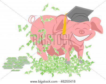cerdo con sombrero de graduación en la cabeza