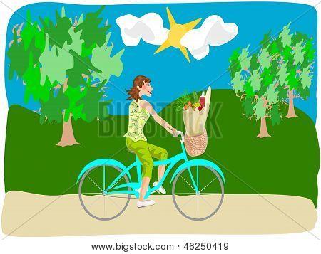 bicicleta de mujer a caballo con comestibles