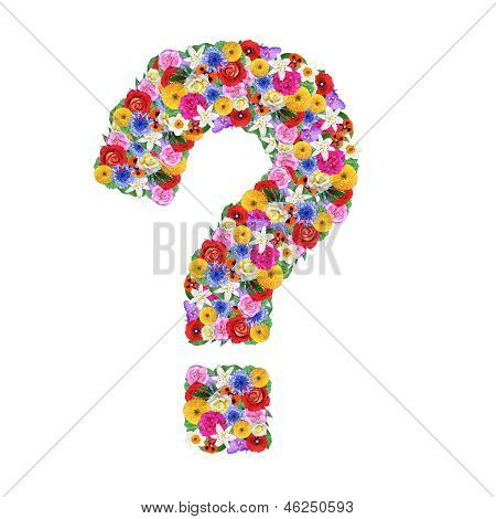 Question Mark,  Letter Of The Alphabet In Different Flowers