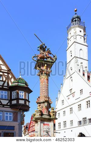 Column near town hall in Rothenburg ob der Tauber, Germany