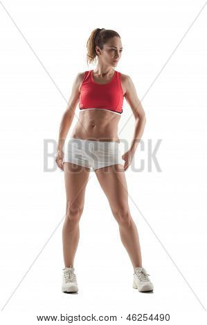 Athletic Woman  Isolated On White Background