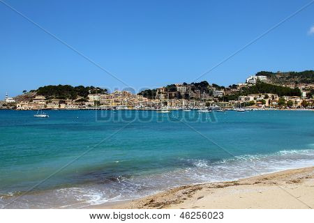 Soller Beach Of Mallorca With Boats In Balearic Island
