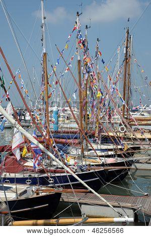 Old Gaff sailing boats