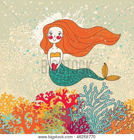Cute mermaid in corals. Bright cartoon background in vector. Childish card