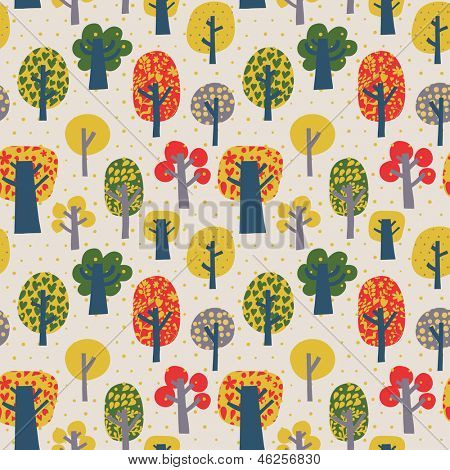 Outdoor concept seamless pattern. Cartoon trees in vector background. Seamless pattern can be used for wallpaper, pattern fills, web page backgrounds, surface textures.