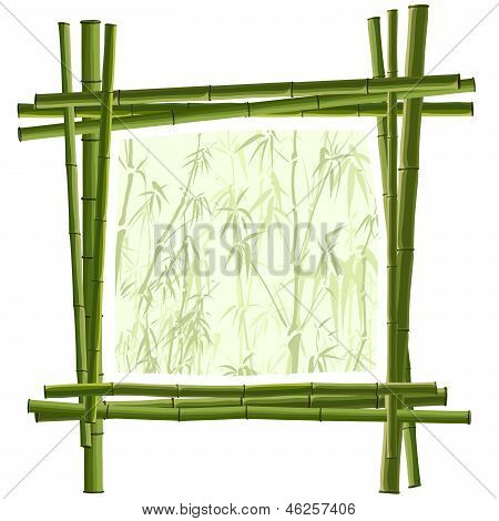 Vector Square Frame From Green Bamboo.