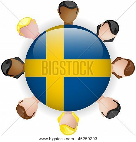 Sweden Flag Button Teamwork People Group