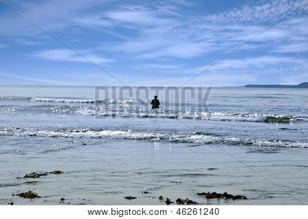 Lone Man Fishing In The River Shannon