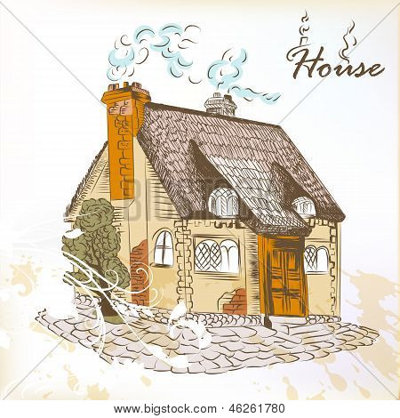 Hand Drawn Sketch Of  Little House In English Style